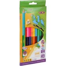 Кольорові олівці Double, 12 шт. (24 кольори), KIDS LINE ZB.2463