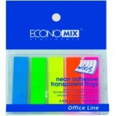 Блок паперу (стікер-закладка) ECONOMIX 5 неонових кольорів по 25 прозорих закладок Е20945