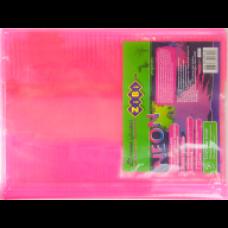 Обкладинка для підручника NEON з клапаном 250*420мм, PVC, рожева, ZB.4750-10