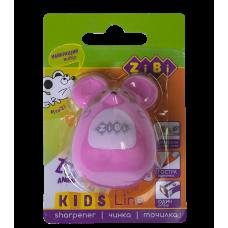 Чинка для олівців МИШКА, з контейнером, 1 отв. в бліст., рожевий. ZB.5521-5