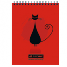 Блокнот на пружине сверху, А-6 48 листов Коты Buromax BM.2485-05,червоний