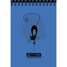 Блокнот на пружине сверху, А-6 48 листов Коты Buromax BM.2485-02.синий