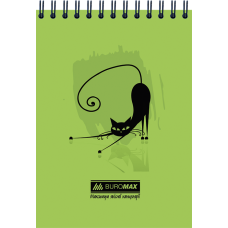 Блокнот на пружине сверху, А-6 48 листов Коты Buromax BM.2485-04,зелёный