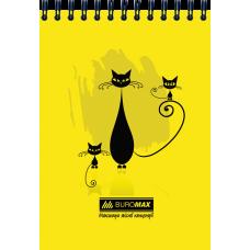 Блокнот на пружине сверху, А-6 48 листов Коты Buromax BM.2485-08,жолтый