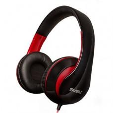 Наушники SVEN AP-940MV black-red с микрофоном (кожаные) Джек 3,5мм 4pin, адаптер 1м для ПК