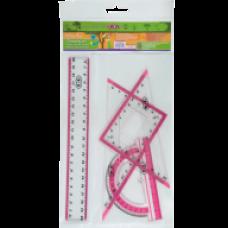 Комплект: Лінійка 20см, 2 косиньця, транспортир, з рожевою смужкою ZB.5680-10