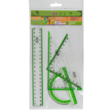 Комплект: Лінійка 20см, 2 косиньця, транспортир, з салатовою смужкою ZB.5680-15