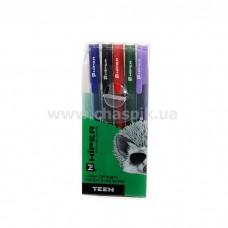 Набір ручок гел. Hiper Teen Gel HG-125/5 0,6 мм (чорн/черв/синя/зел/фіол)