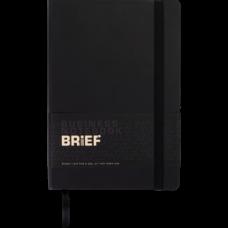 Блокнот діловий BRIEF А5, 96 арк, чистий, обкладинка штучна шкіра, чорний, ВМ. 295004-01