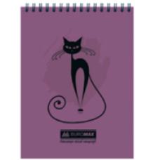 """Блокнот на пружині зверху , А-5, 48 арк, """"CAT"""" клітинка, картонна обкладинка,фіолетовий, ВМ. 2475-07"""
