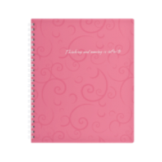 Зошит на пруж. Barocco В5, 80 арк, кл., рожевий, пласт.обкл., ВМ. 2419-610