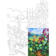 Полотно на картоні з ескізом Пейзаж №17 30*40 бавовна GPA283817 Етюд