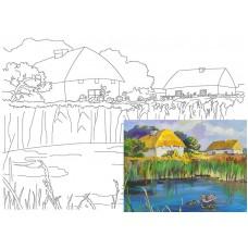 Полотно на картоні з ескізом Пейзаж №18 30*40 бавовна GPA283818 Етюд