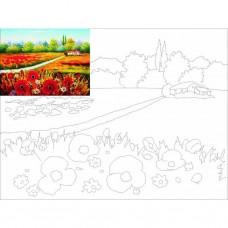 Полотно на картоні з ескізом Пейзаж №4 30*40 бавовна GPA283804 Етюд