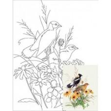 Полотно на картоні з контуром Птахи №4 30*40 бавовна GPA283404 Етюд